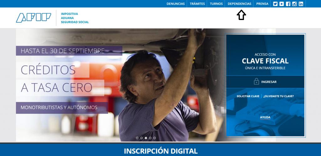 """Ingresar a """"Dependencias"""" en la web de la AFIP"""