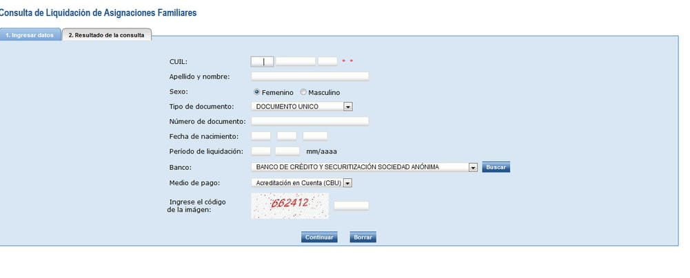 consulta de liquidación de asignaciones familiares