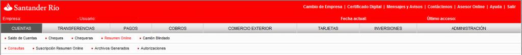 """Santander Río: """"Servicio de cuentas"""""""