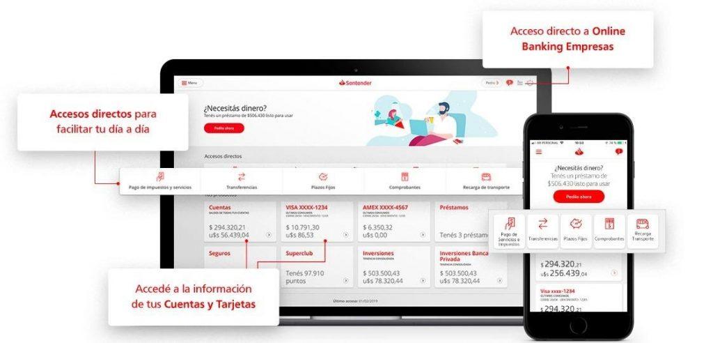 Todas las opciones disponibles desde Online Banking