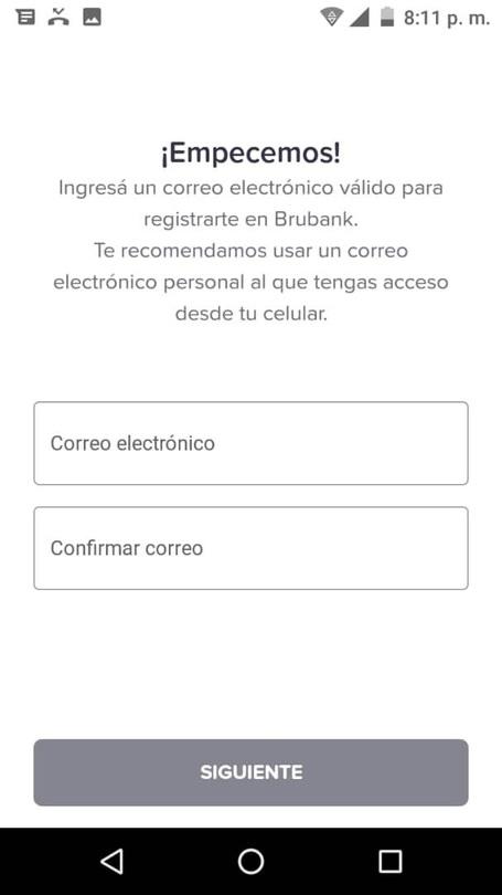ingresar correo electronico en brubank para crear cuenta