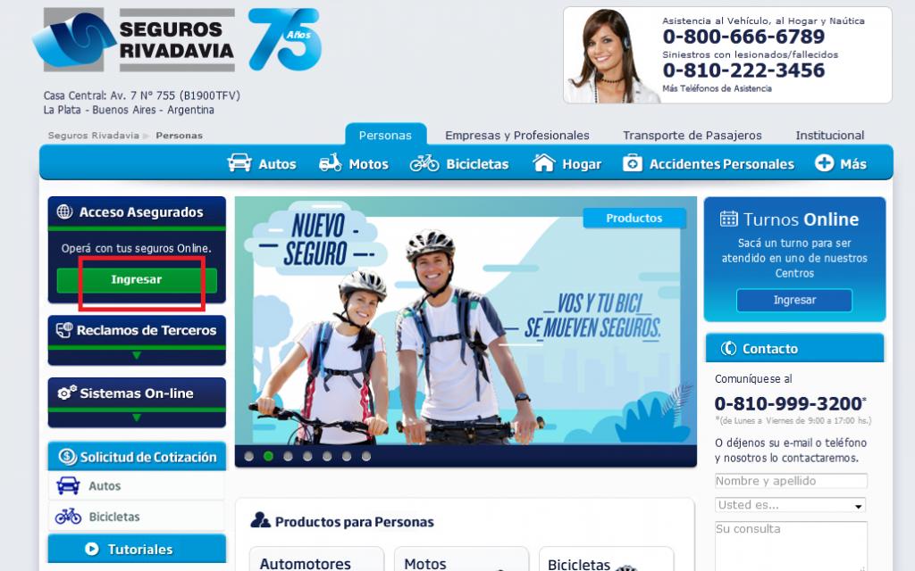 Pagar cuota de Rivadavia: paso 1