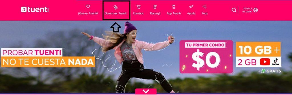 página web de Tuenti