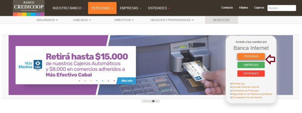 web de Banco Credicoop Cooperativa Limitado