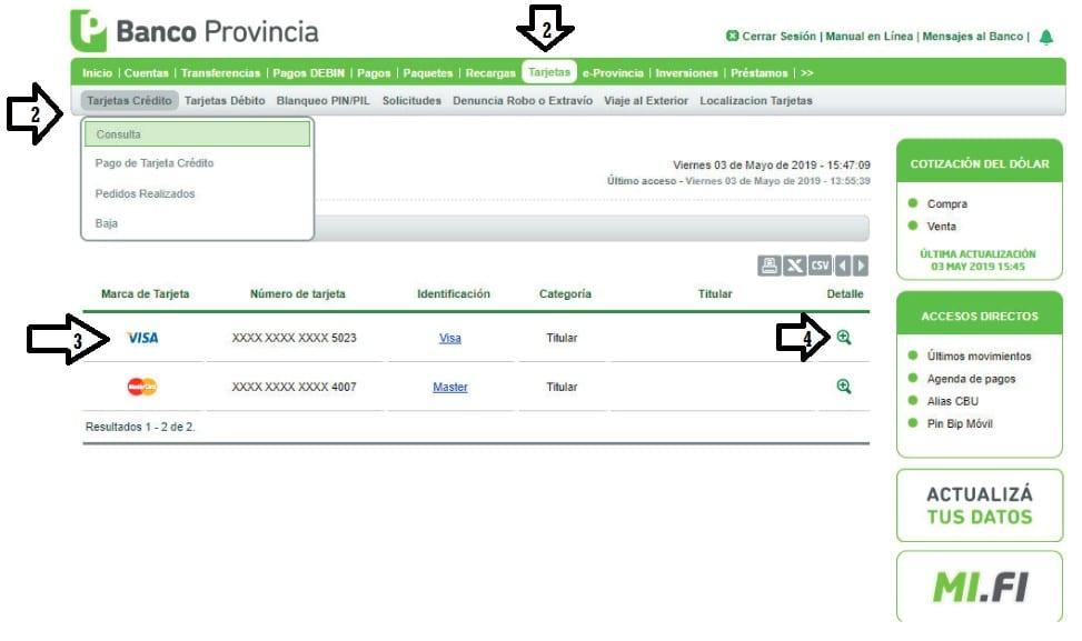 Página web de Banco Provincia